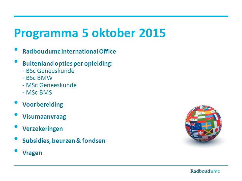 Programma 5 oktober 2015 Radboudumc International Office