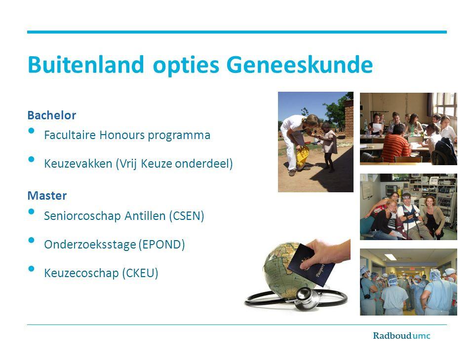 Buitenland opties Geneeskunde