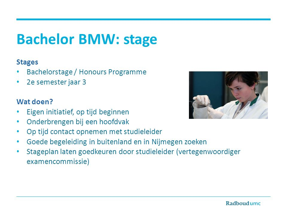Bachelor BMW: stage Stages Bachelorstage / Honours Programme