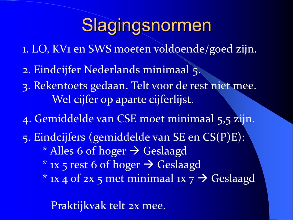 Slagingsnormen 1. LO, KV1 en SWS moeten voldoende/goed zijn.