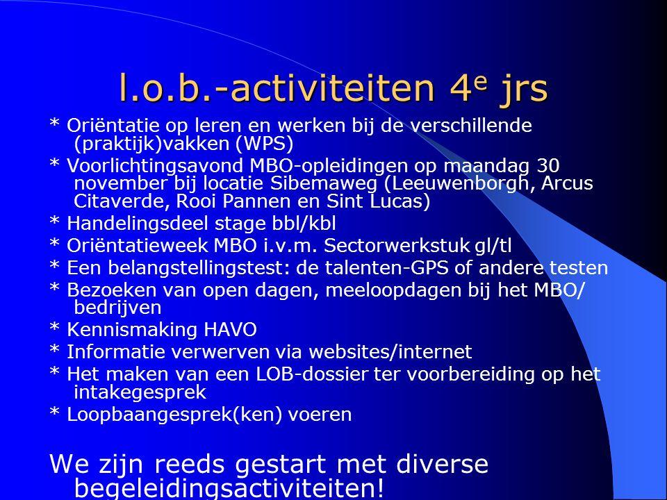 l.o.b.-activiteiten 4e jrs