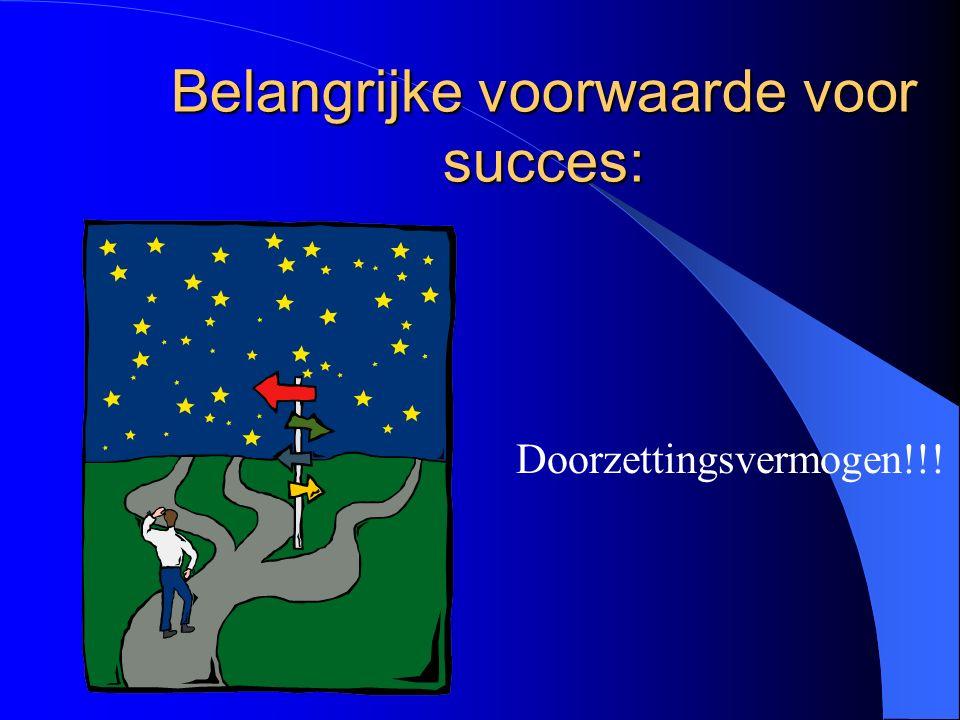 Belangrijke voorwaarde voor succes: