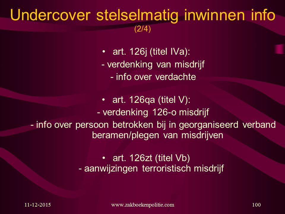 Undercover stelselmatig inwinnen info (2/4)