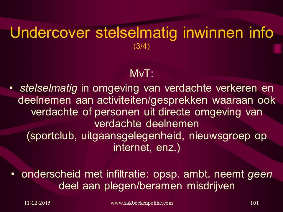 Undercover stelselmatig inwinnen info (3/4)