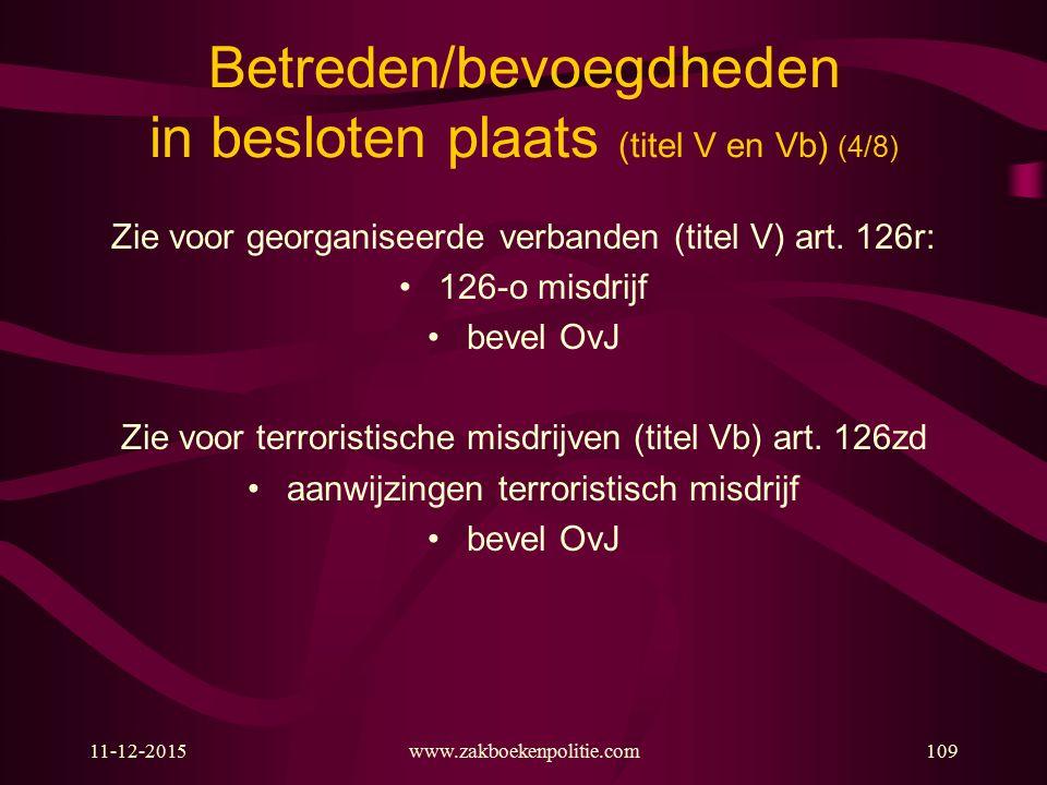Betreden/bevoegdheden in besloten plaats (titel V en Vb) (4/8)