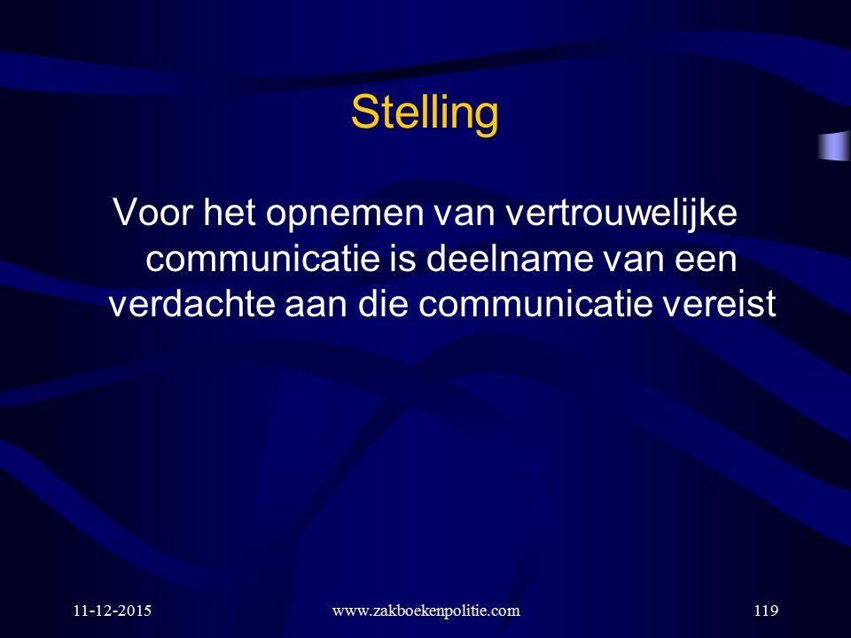 Stelling Voor het opnemen van vertrouwelijke communicatie is deelname van een verdachte aan die communicatie vereist.