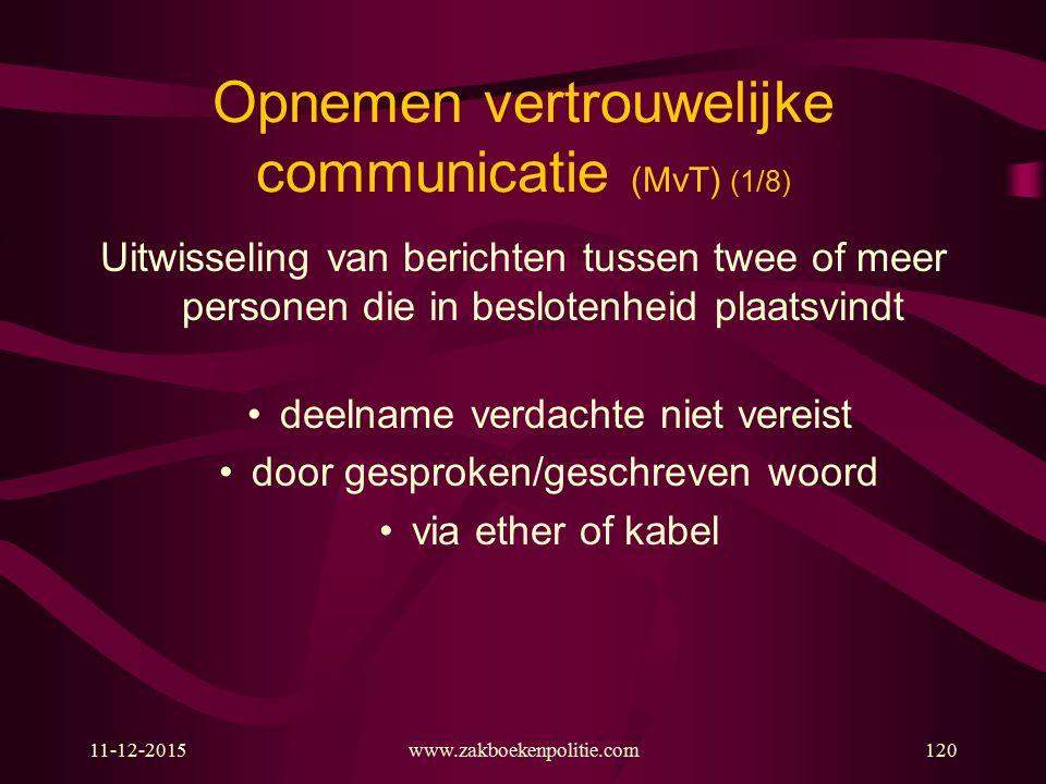 Opnemen vertrouwelijke communicatie (MvT) (1/8)