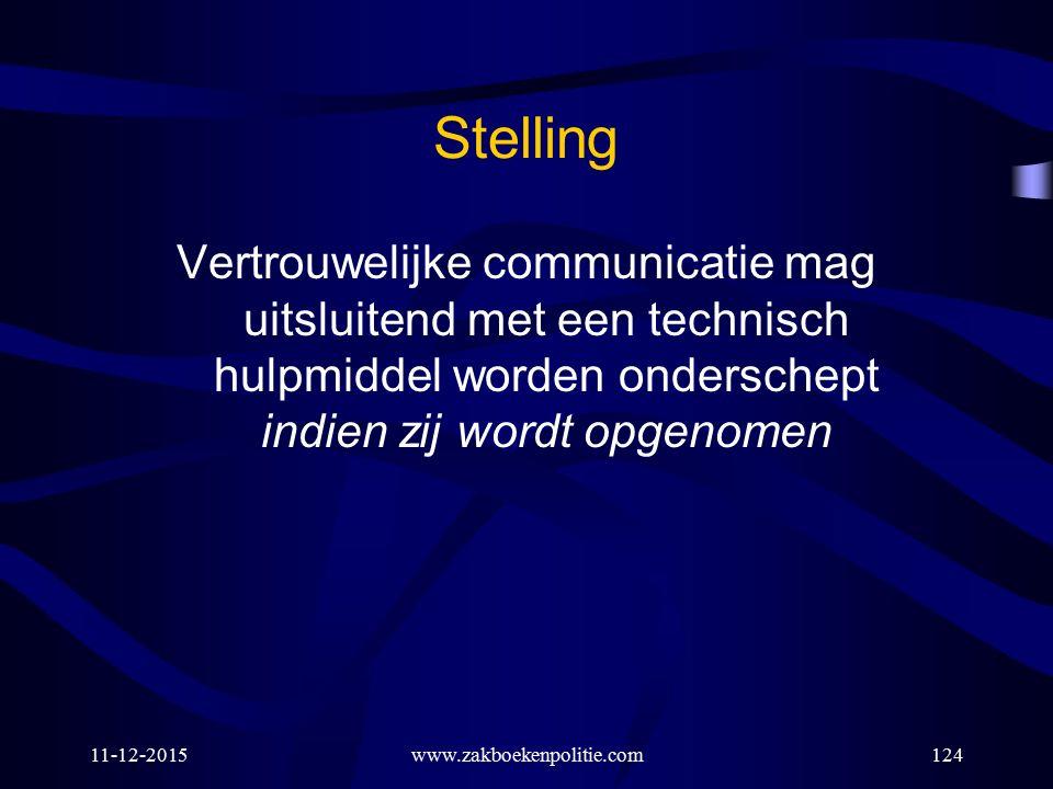 Stelling Vertrouwelijke communicatie mag uitsluitend met een technisch hulpmiddel worden onderschept indien zij wordt opgenomen.