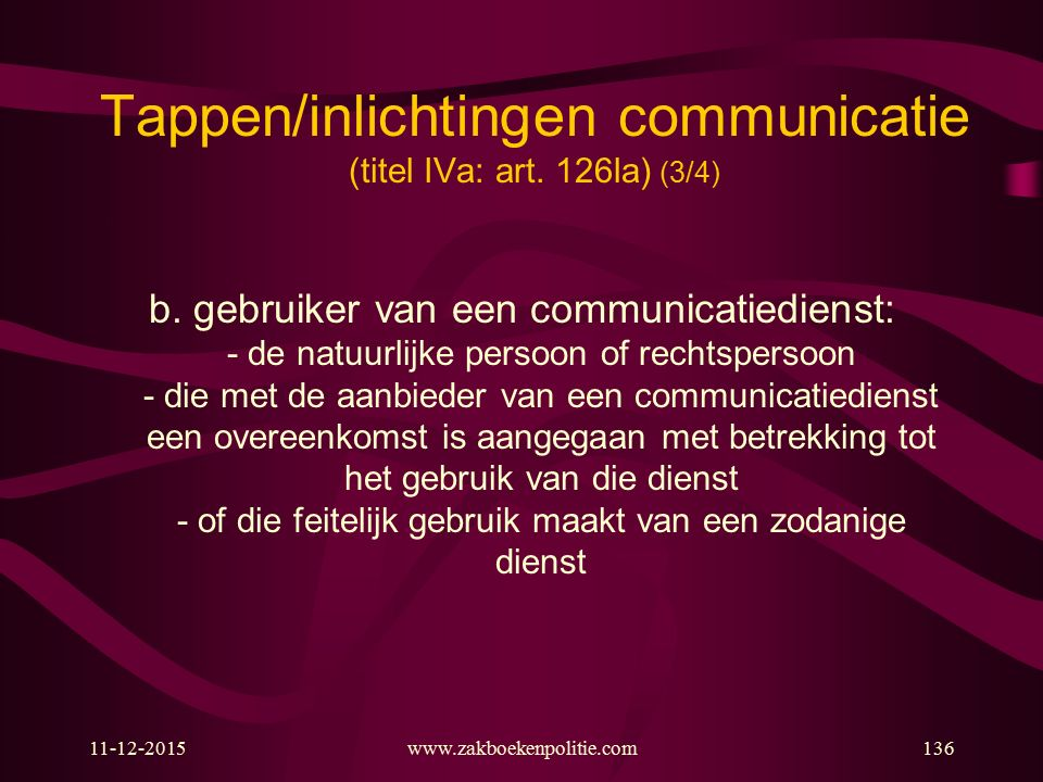 Tappen/inlichtingen communicatie (titel IVa: art. 126la) (3/4)