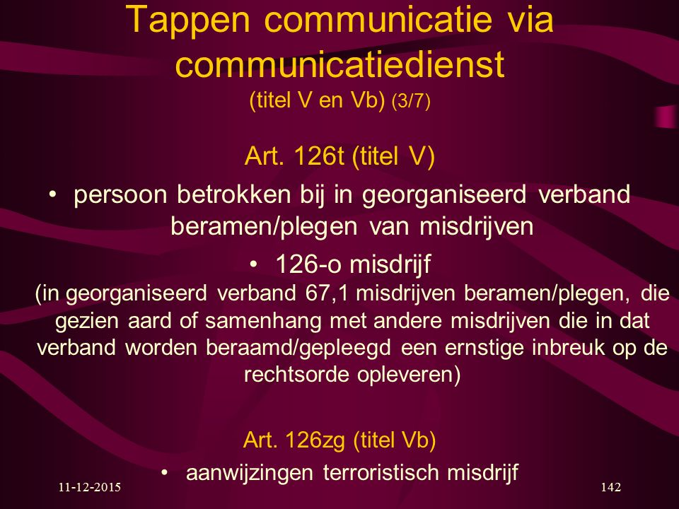 Tappen communicatie via communicatiedienst (titel V en Vb) (3/7)