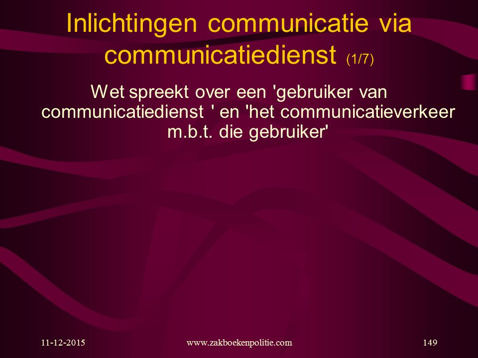 Inlichtingen communicatie via communicatiedienst (1/7)