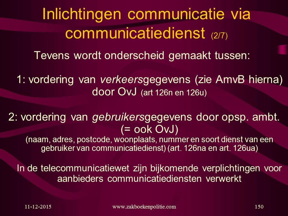 Inlichtingen communicatie via communicatiedienst (2/7)