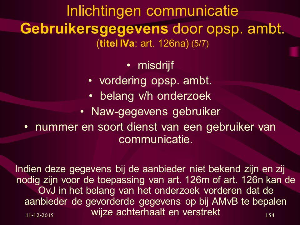 Inlichtingen communicatie Gebruikersgegevens door opsp. ambt