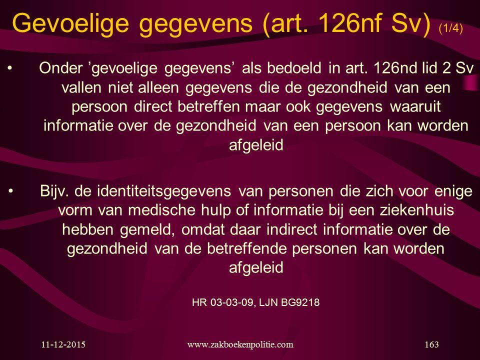 Gevoelige gegevens (art. 126nf Sv) (1/4)