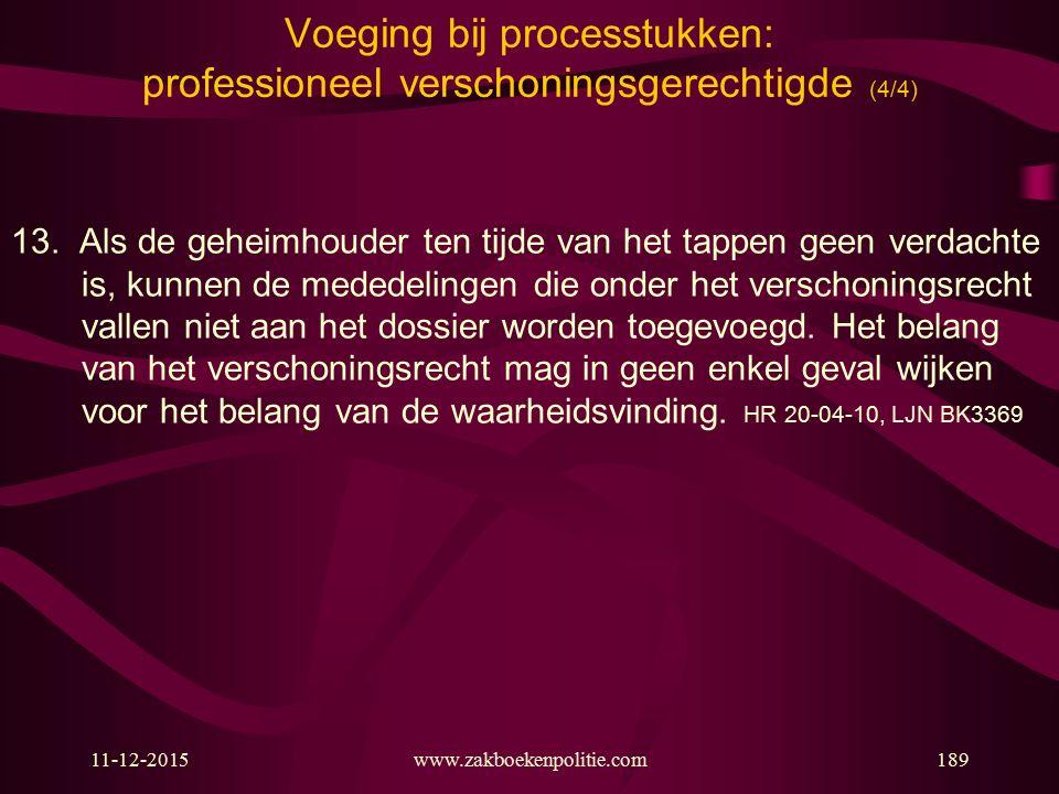 Voeging bij processtukken: professioneel verschoningsgerechtigde (4/4)