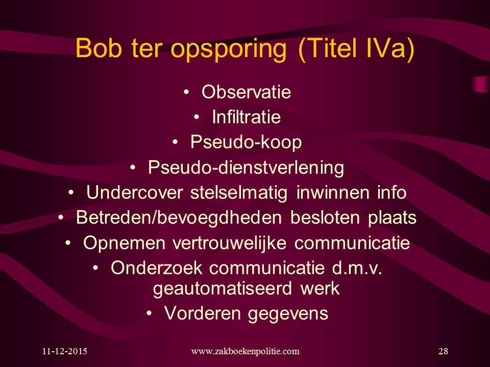 Bob ter opsporing (Titel IVa)