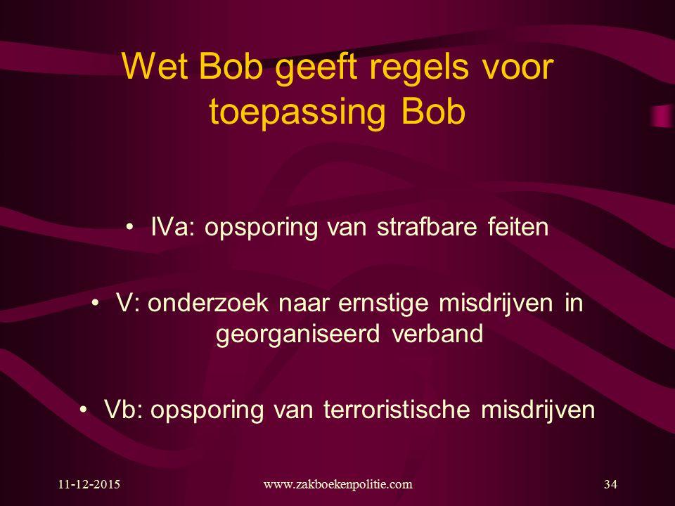 Wet Bob geeft regels voor toepassing Bob