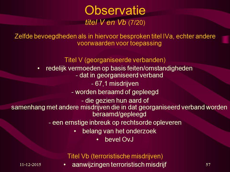 Observatie titel V en Vb (7/20)