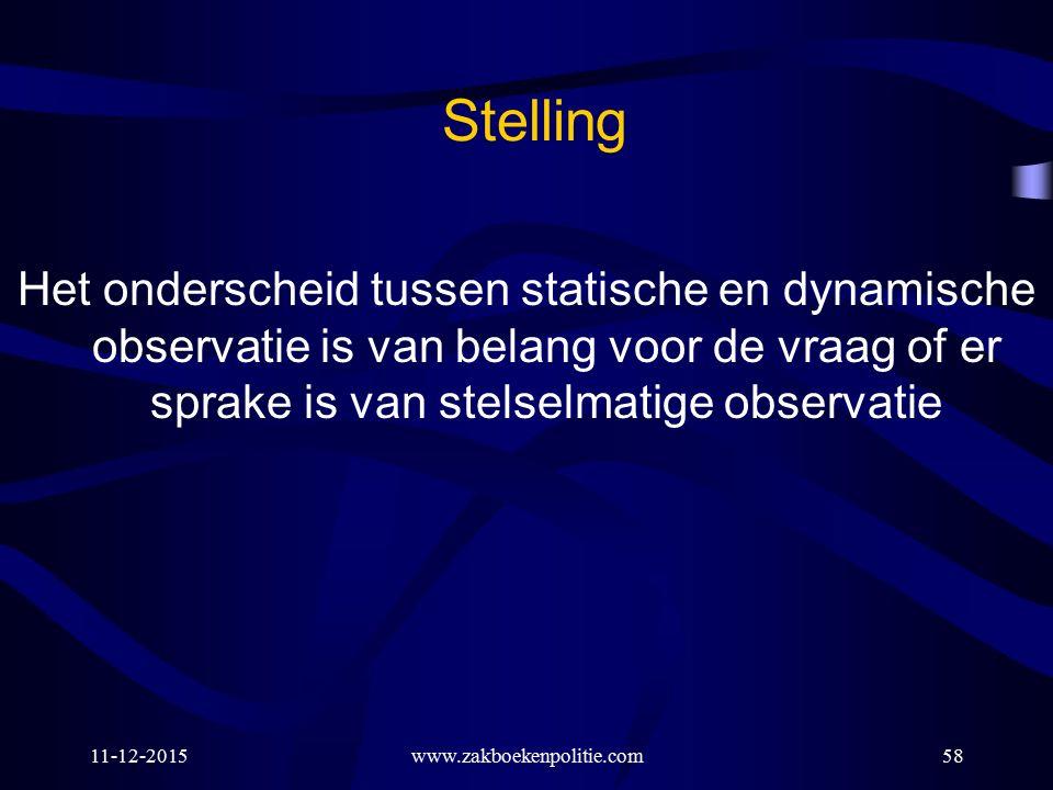 Stelling Het onderscheid tussen statische en dynamische observatie is van belang voor de vraag of er sprake is van stelselmatige observatie.