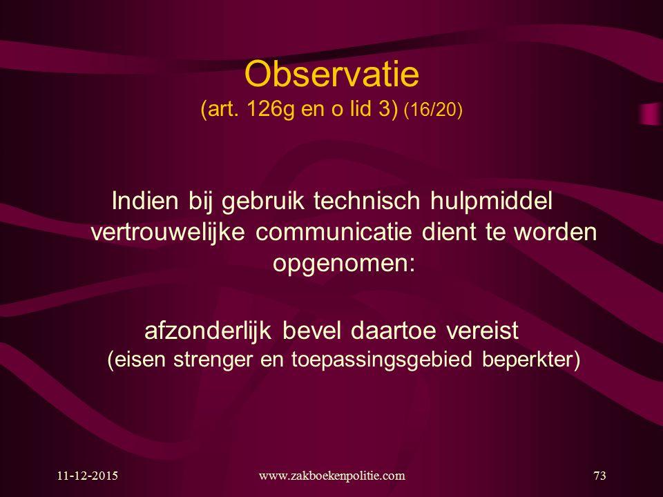 Observatie (art. 126g en o lid 3) (16/20)