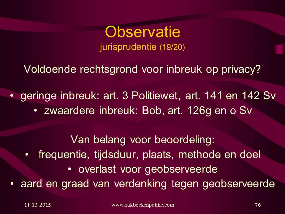 Observatie jurisprudentie (19/20)