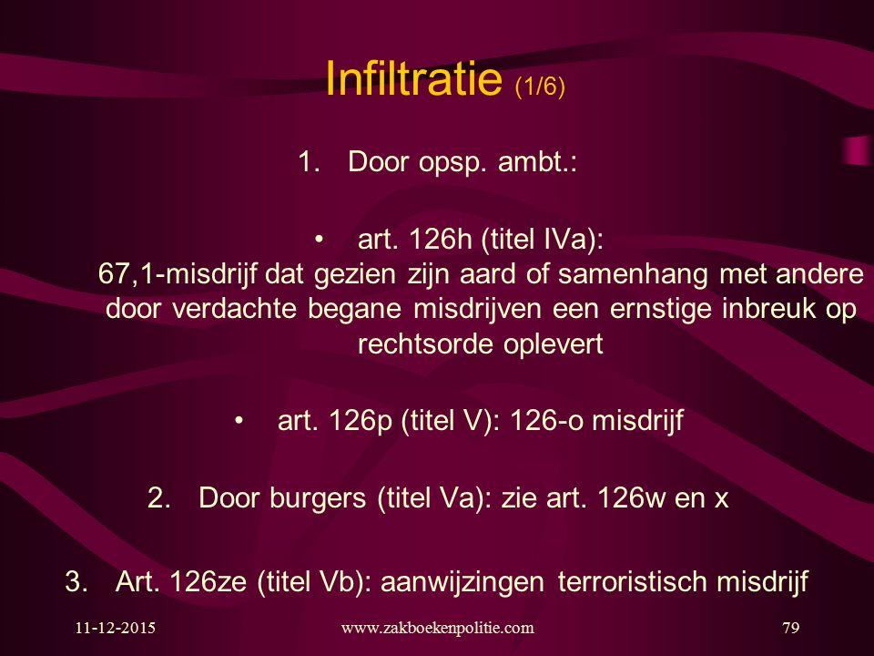Infiltratie (1/6) Door opsp. ambt.: