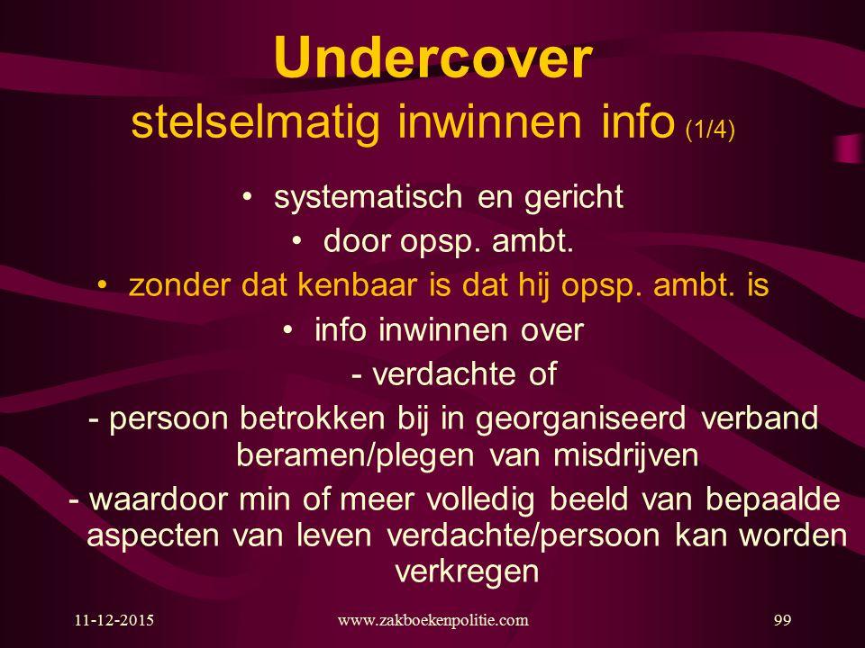 Undercover stelselmatig inwinnen info (1/4)
