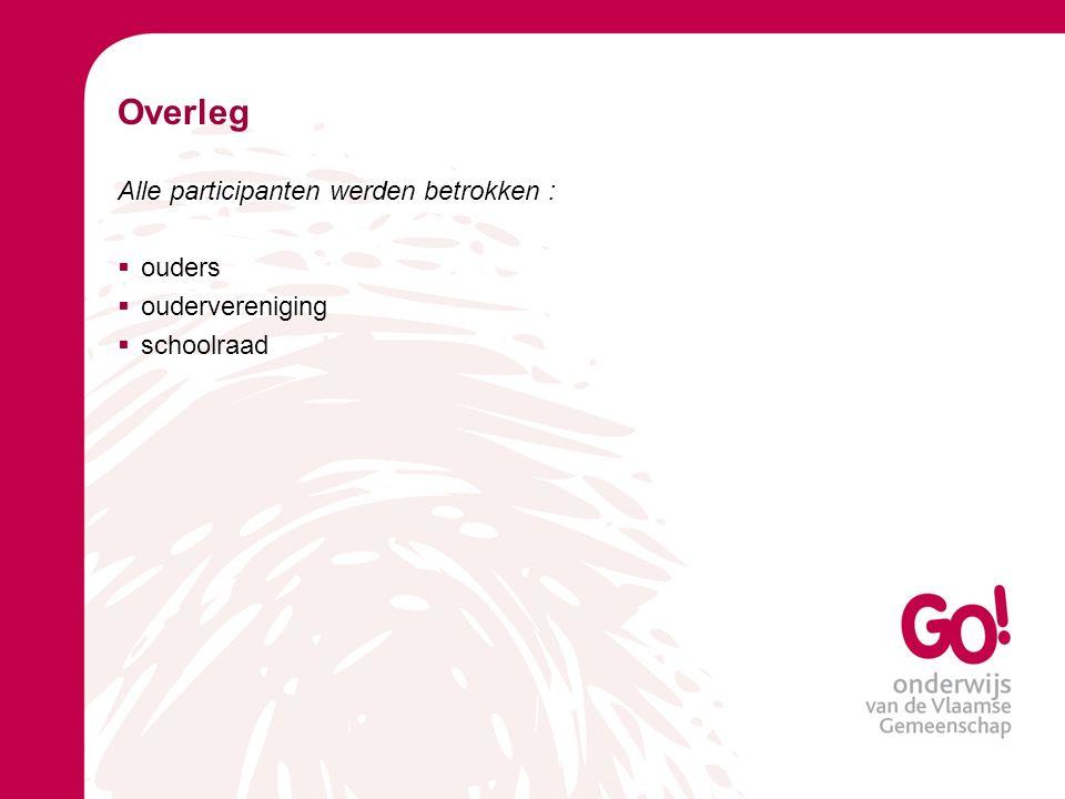 Overleg Alle participanten werden betrokken : ouders oudervereniging