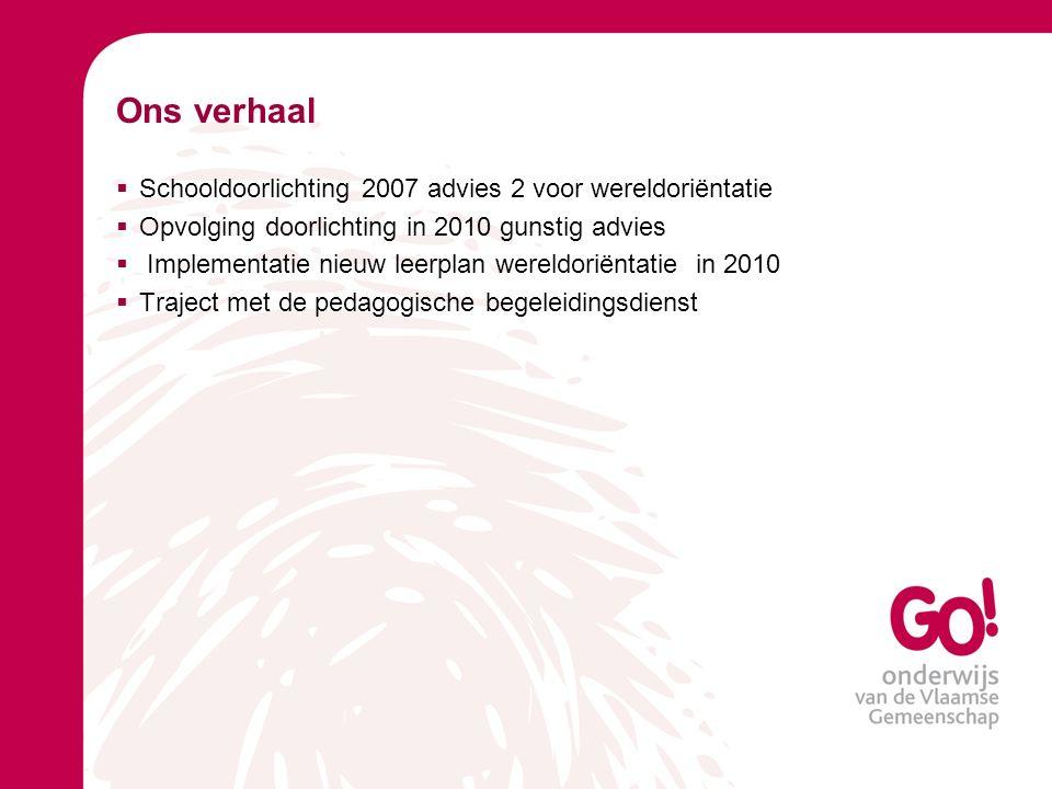 Ons verhaal Schooldoorlichting 2007 advies 2 voor wereldoriëntatie