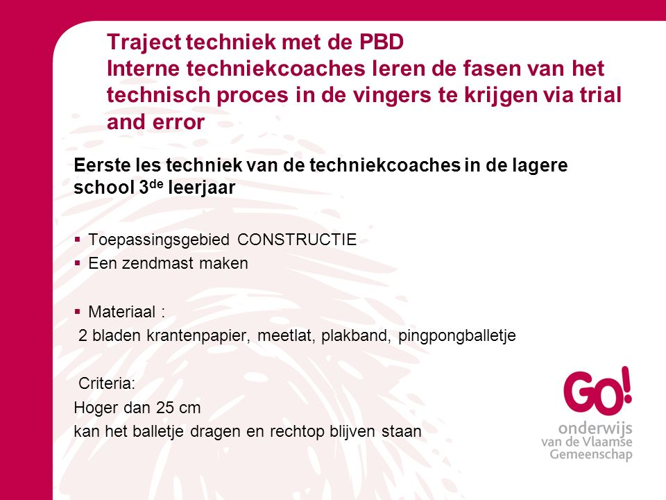 Traject techniek met de PBD Interne techniekcoaches leren de fasen van het technisch proces in de vingers te krijgen via trial and error