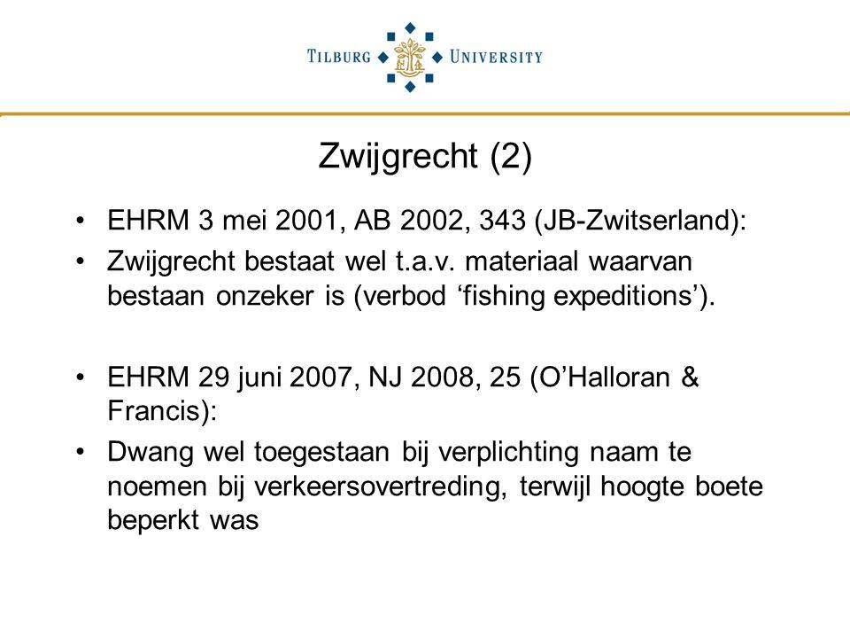 Zwijgrecht (2) EHRM 3 mei 2001, AB 2002, 343 (JB-Zwitserland):