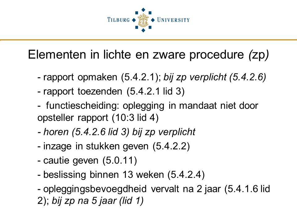 Elementen in lichte en zware procedure (zp)