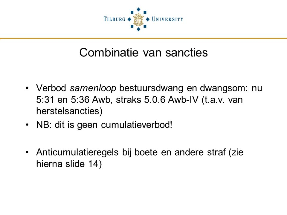 Combinatie van sancties