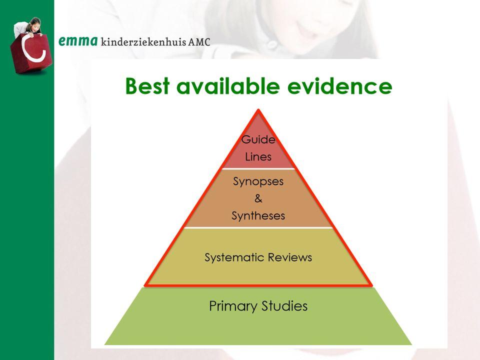 Hoe hoger in de piramide des te hoger het niveau van bewijs.