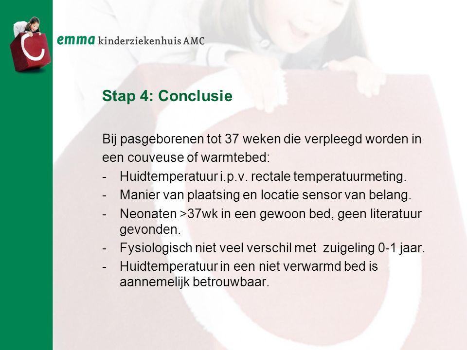 Stap 4: Conclusie Bij pasgeborenen tot 37 weken die verpleegd worden in. een couveuse of warmtebed:
