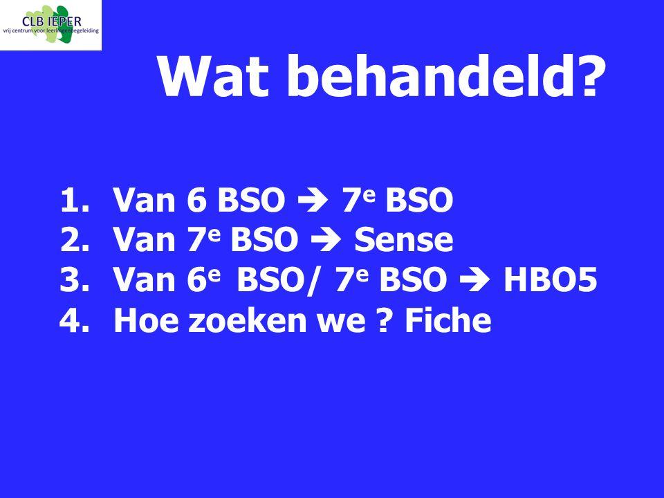 Wat behandeld Van 6 BSO  7e BSO Van 7e BSO  Sense