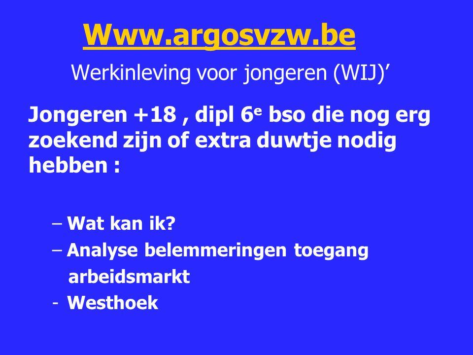 Www.argosvzw.be Werkinleving voor jongeren (WIJ)'