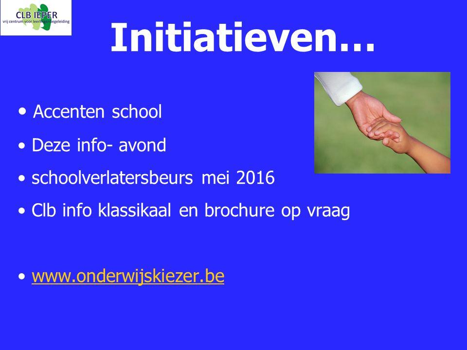 Initiatieven… Accenten school Deze info- avond
