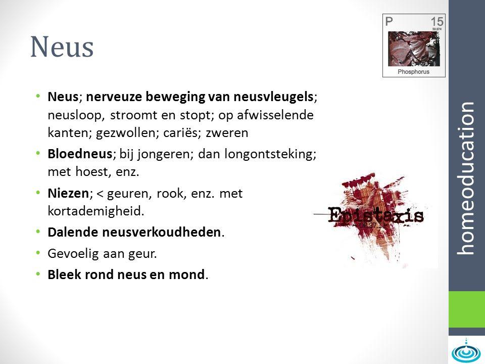 Neus Neus; nerveuze beweging van neusvleugels; neusloop, stroomt en stopt; op afwisselende kanten; gezwollen; cariës; zweren.