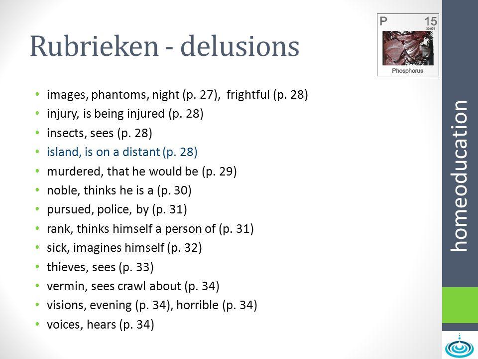 Rubrieken - delusions images, phantoms, night (p. 27), frightful (p. 28) injury, is being injured (p. 28)