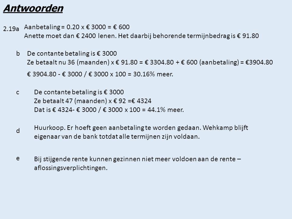 Antwoorden Aanbetaling = 0.20 x € 3000 = € 600