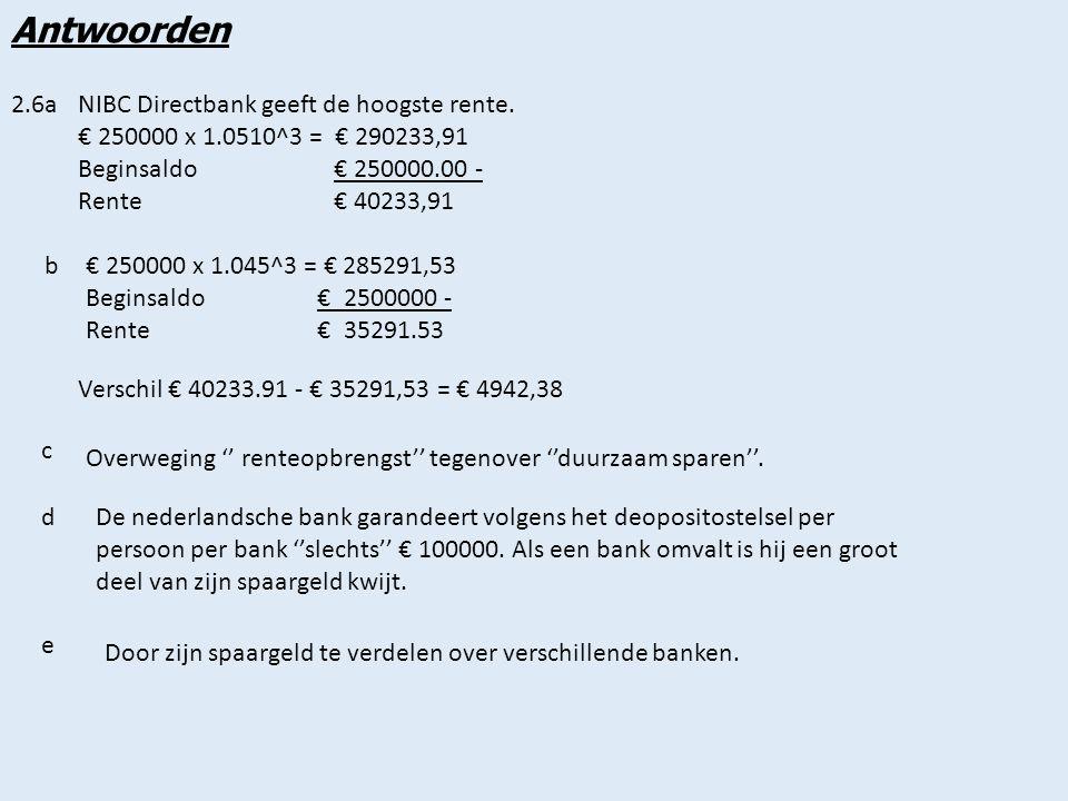 Antwoorden 2.6a NIBC Directbank geeft de hoogste rente.