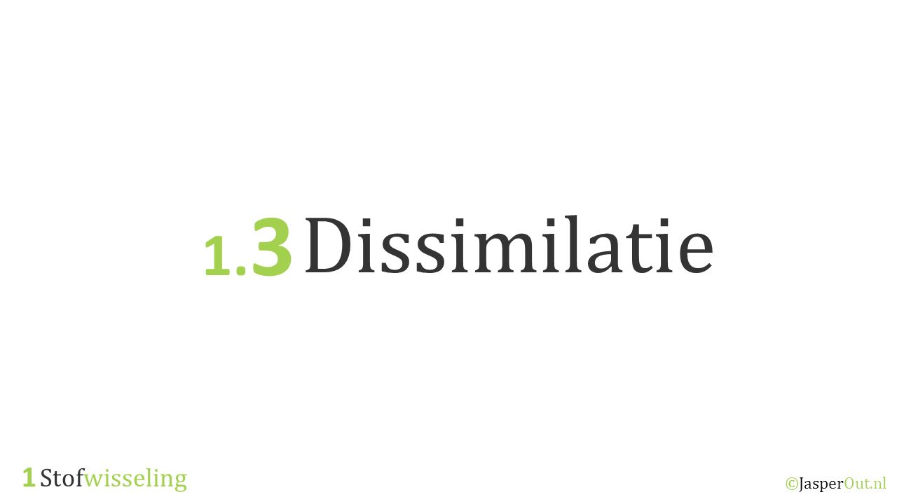 1.3 Dissimilatie 1 Stofwisseling ©JasperOut.nl