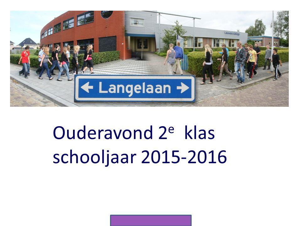 . Ouderavond 2e klas schooljaar 2015-2016