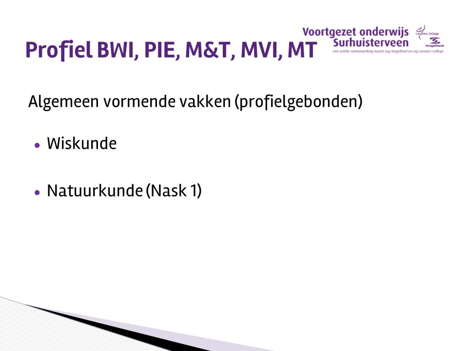 Profiel BWI, PIE, M&T, MVI, MT