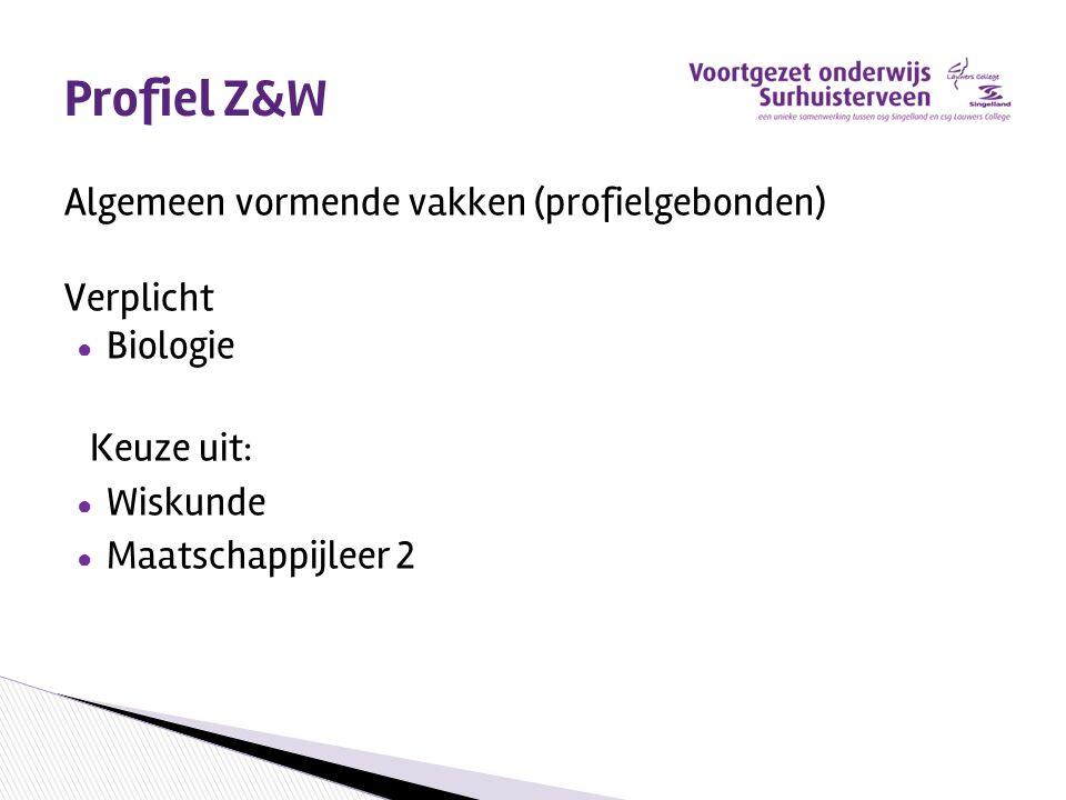 Profiel Z&W Algemeen vormende vakken (profielgebonden) Verplicht
