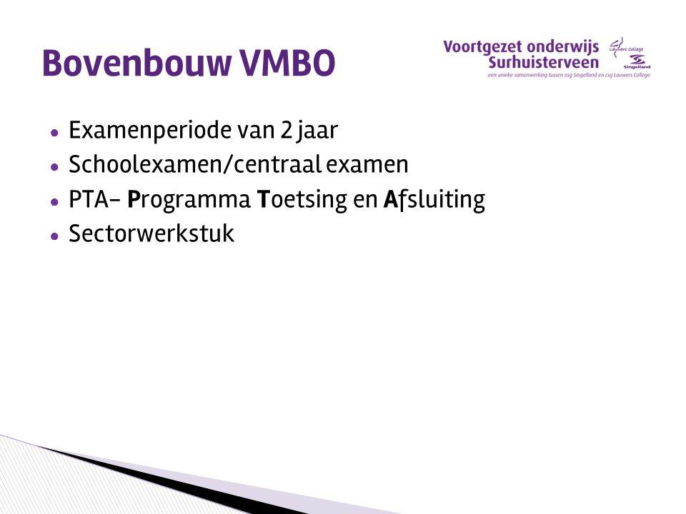Bovenbouw VMBO Examenperiode van 2 jaar Schoolexamen/centraal examen