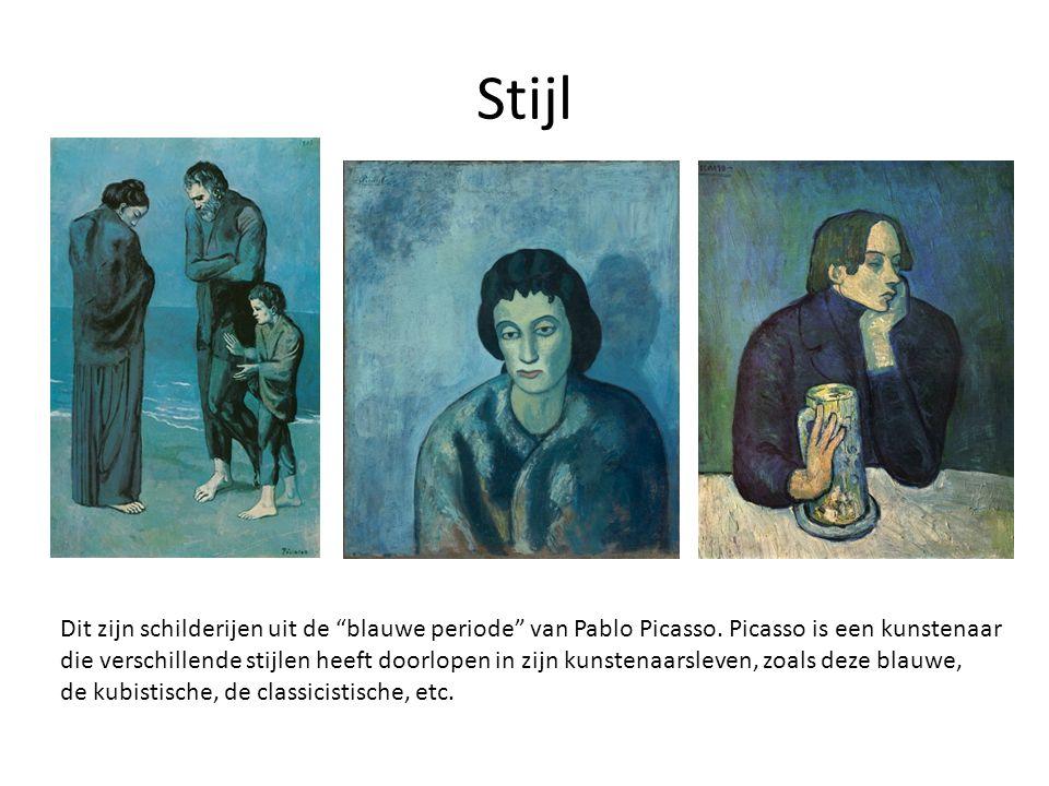 Stijl Dit zijn schilderijen uit de blauwe periode van Pablo Picasso. Picasso is een kunstenaar.