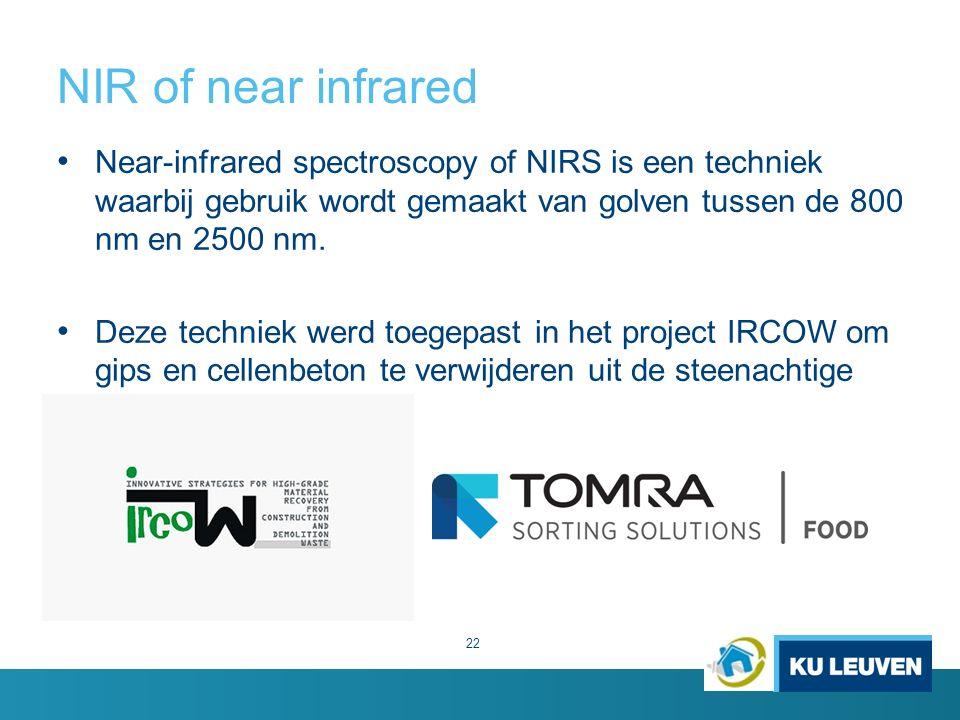 NIR of near infrared Near-infrared spectroscopy of NIRS is een techniek waarbij gebruik wordt gemaakt van golven tussen de 800 nm en 2500 nm.