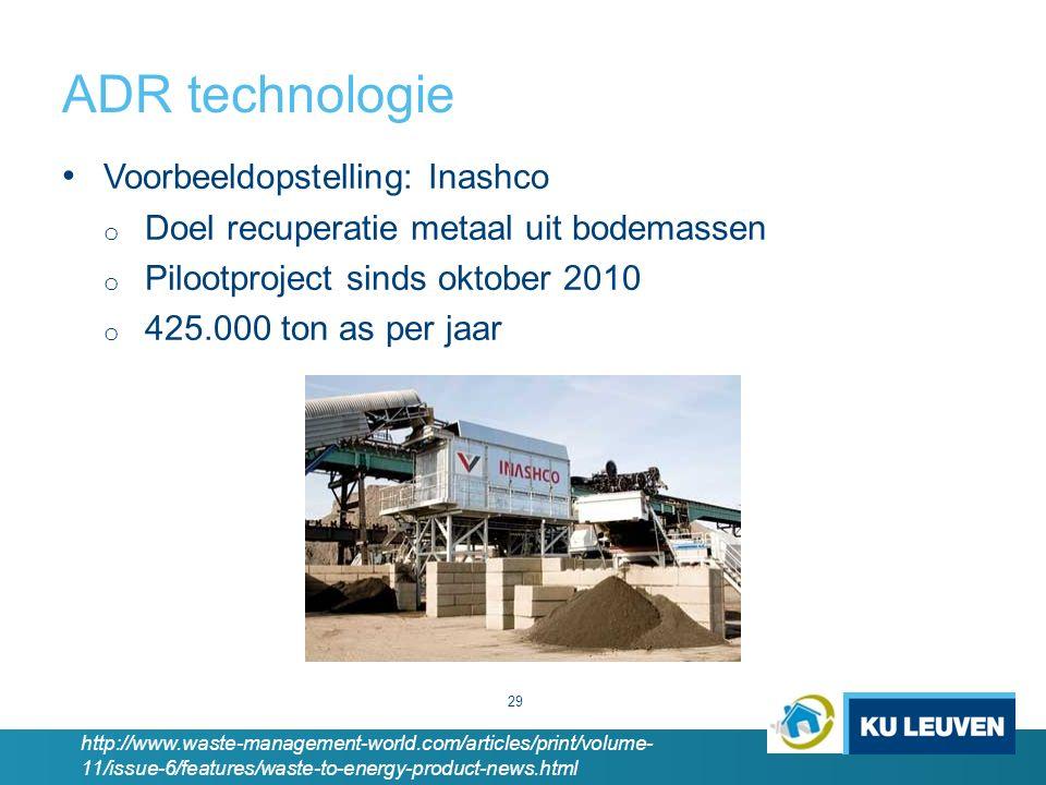 ADR technologie Voorbeeldopstelling: Inashco